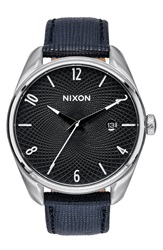 Nixon 'The Bullet' Leather Strap Watch 38Mm Black Silver