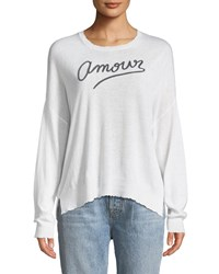 Sundry Amour Embroidered Long Sleeve Top White