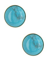 Yochi Design Turquoise Button Earrings Blue