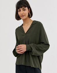 Selected Femme Long Sleeve Shirt With Volume Sleeve Grey