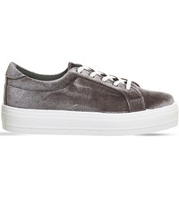 Office Diva Velvet Flatform Trainers Grey Velvet