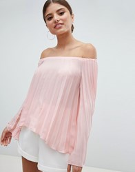 Jessica Wright Pleated Off Shoulder Top Pink