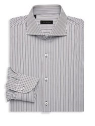 Saks Fifth Avenue Collection Striped Dress Shirt Blue