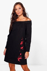 Boohoo Freida Long Sleeve Off Shoulder Shift Dress Black
