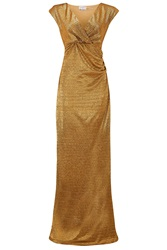 Almost Famous Metallic Foil Gown Gold Metallic