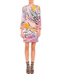 Emilio Pucci Long Sleeve Feather Print Cady Dress Multi Colors