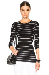Enza Costa Rib Fitted Crew Tee In Black Stripes