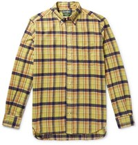 Gitman Brothers Vintage Button Down Collar Checked Brushed Cotton Flannel Shirt Yellow