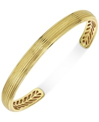 Esquire Men's Jewelry Textured Cuff Bracelet In 10K Gold Only At Macy's Yellow Gold