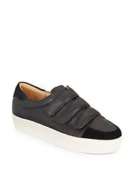 Nine West Hidrate Embossed Leather Platform Sneakers Black