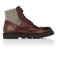 Franceschetti Men's Leather And Tweed Wingtip Boots Burgundy