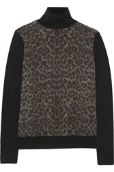Equipment Spencer Leopard Print Washed Silk And Wool Turtleneck Sweater Black