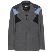 Miu Miu Hooded Wool Jacket Ardesia Pe