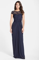 Women's Adrianna Papell Lace Yoke Drape Gown Ink