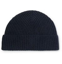 Lock And Co Hatters Ribbed Cashmere Beanie Navy