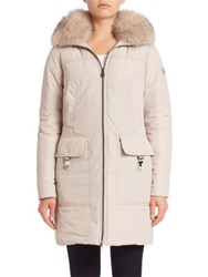 Peuterey Tonales Fox Fur Trim Down Coat Cream