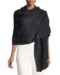 Bindya Wool Silk Stole Delicacy W Sequins Black
