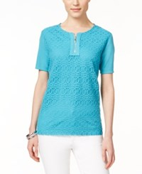 Alfred Dunner Short Sleeve Lace Top Turquoise