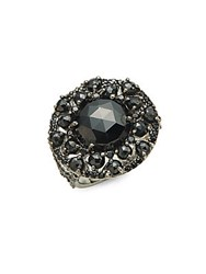Bavna Black Spinel And Sterling Silver Cocktail Ring
