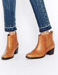 Warehouse Leather Flat Chelsea Ankle Boots Tan