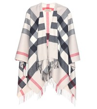 Burberry Cashmere And Merino Wool Cape White