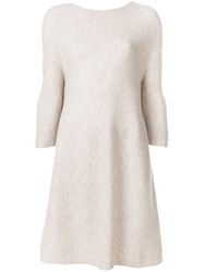 N.Peal Bell Sleeve Sweater Dress Nude And Neutrals