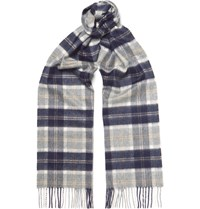 Johnstons Of Elgin Checked Cashmere Scarf Gray