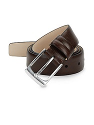 Hickey Freeman Cross Embossed Leather Belt