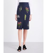 Stella Mccartney Cactus Embroidered Twill Pencil Skirt Ink