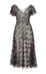 Luisa Beccaria Short Sleeve Floral Embroidered Midi Dress