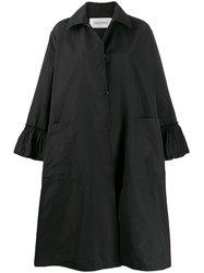 Valentino Ruffle Detail Oversized Coat Black