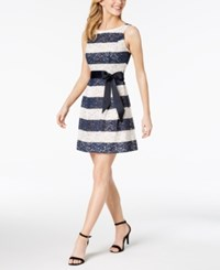 Robbie Bee Petite Striped Lace Fit And Flare Dress Navy White