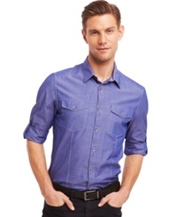 Kenneth Cole Reaction Core Long Sleeve Iridescent Chambray Slim Fit Shirt Reaction Blue Combo