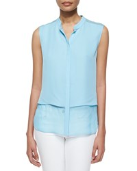 Elie Tahari Eve Sleeveless Double Georgette Blouse