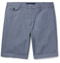 Incotex Stretch Cotton Chambray Shorts Blue