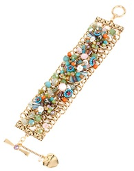 Betsey Johnson Weave And Sew Floral Beaded Cuff Bracelet Multi