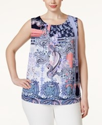 Charter Club Plus Size Mixed Print Sleeveless Top Only At Macy's Intrepid Blue Combo