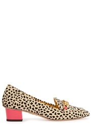 Charlotte Olympia Francis Cheetah Print Calf Hair Loafers Leopard
