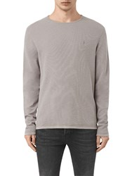 Allsaints Clash Crew Long Sleeve Jersey Top Lunar Grey