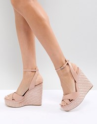 59911d4a9f0 Aldo Cross Strap Wedge Shoe With Textured Heel Pink