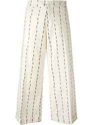 Eggs 'Ernesto' Wide Leg Pinstriped Cropped Trousers White
