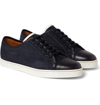 John Lobb Levah Suede And Leather Sneakers Navy
