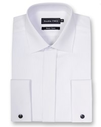 Double Two Men's Classic Collar Ribbed Pique Dress Shirt White