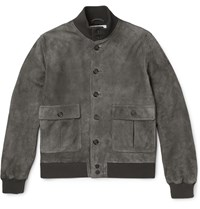 Valstarino Slim Fit Washed Suede Bomber Jacket Gray