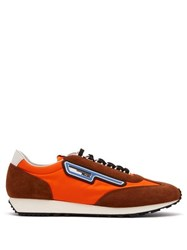 Prada Milano Nylon And Suede Trainers Orange