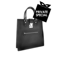L.A.P.A. Front Zip Calf Leather Large Tote Handbag Black