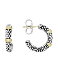 Lagos 18K Gold And Sterling Silver Caviar Beaded Hoop Earrings Silver Gold