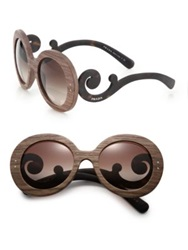 Prada Wooden 55Mm Round Sunglasses Brown Wood