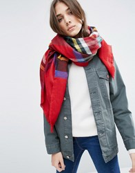 Asos Lightweight Square Scarf In Tartan Check Red