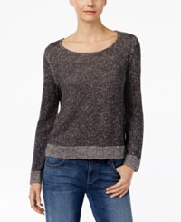 Eileen Fisher Marled Scoop Neck Sweater Charcoal